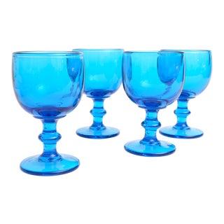 Vintage Blue Glass Pedestal Coupes - Set of 4