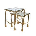 Image of Decorative Gilt Metal Nesting Tables - a Pair