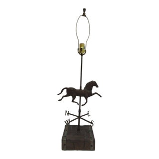 Vintage Copper Horse Weather Vane Table Lamp