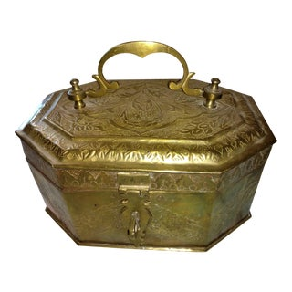 Large Vintage Brass Box Decorative Design