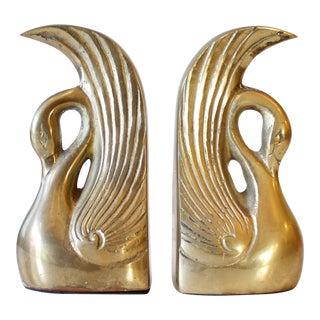 Vintage Mid-Century Brass Swan Bookends - A Pair