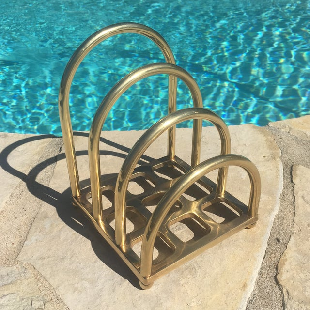 Image of Mid Century Brass Desktop Letter Holder