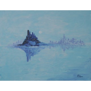 Blue Abstract Landscape Seascape Painting by C. Plowden
