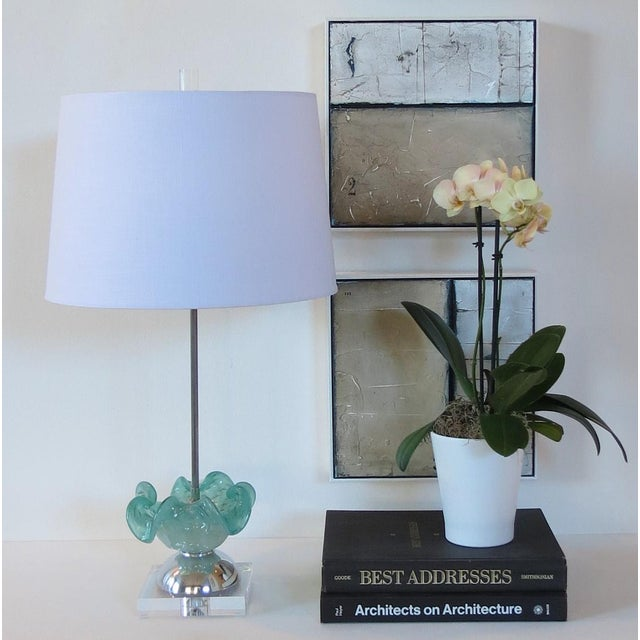 Image of Aqua & Gold Fleck Vintage Murano Glass Lamp