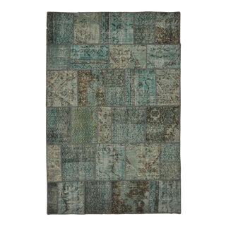 "Turkish Over-Dyed Distressed Patchwork Area Rug - 5'11"" X 8'10"""