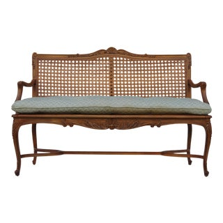 """French """"Louis XV"""" Carved Walnut Caned Settee"""