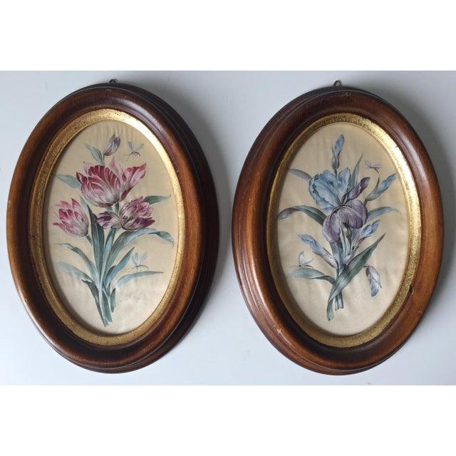 2 Vintage Florentine Framed Silk Botanicals - Image 2 of 7