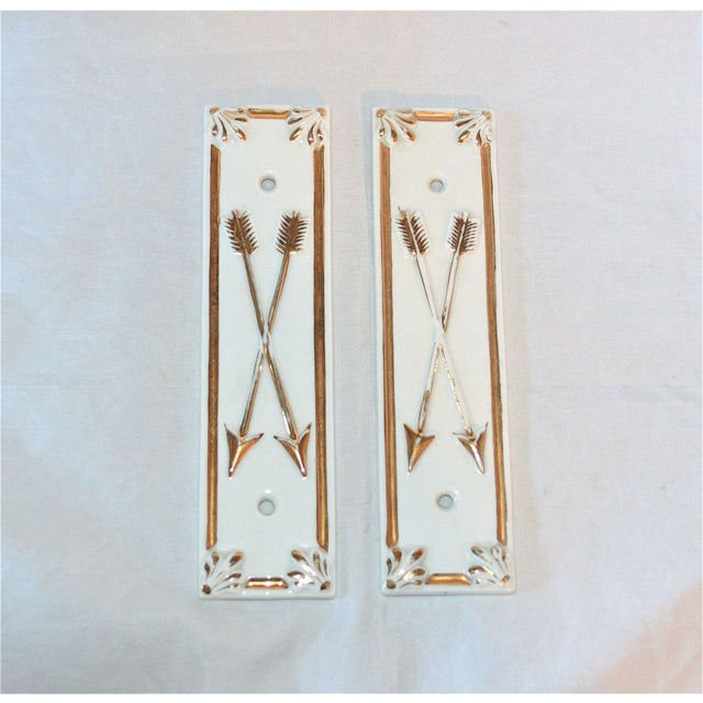 Limoges Golden Arrow Push Plates- A Pair - Image 6 of 9