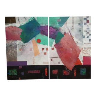 Original Abstract Diptych Painting - A Pair