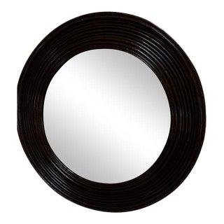 Round Black Glossy Rattan Mirror