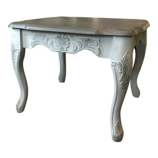 French Style Gray Painted Carved Side Table