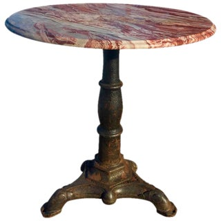 Cast Iron Side Table with Marble Top