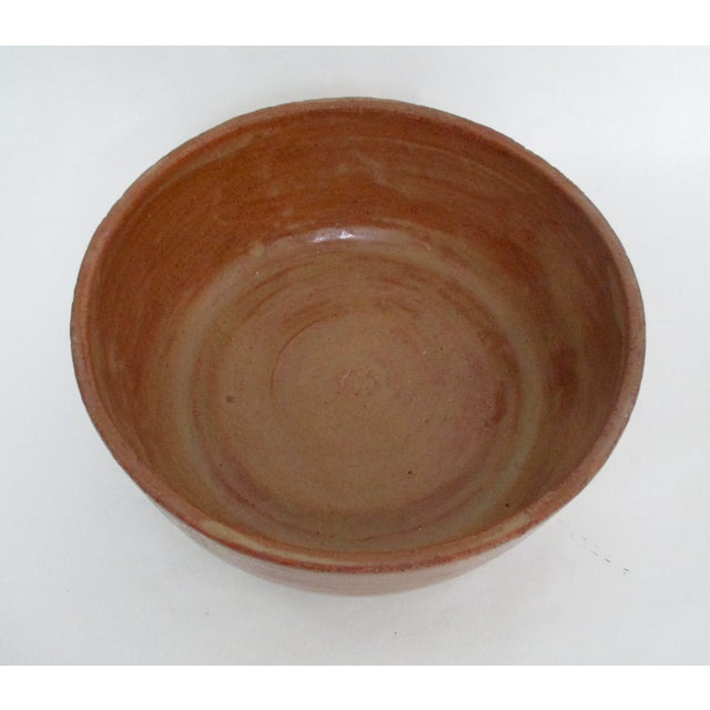 Vintage Hand Thrown Pottery Bowl Tan and Sienna - Image 3 of 5