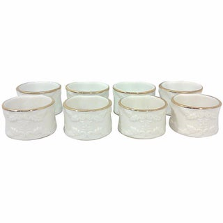 Ivory Porcelain Napkin Rings - Set of 8