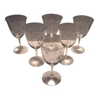 Mid-Century Modern Etched Atomic-Starburst Crystal Water Goblets - Set of 6