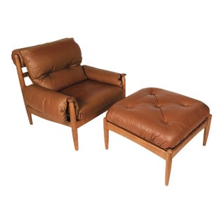 Danish Modern Oak & Leather Lounge Chair & Ottoman Manner of Finn Juhl Bwana