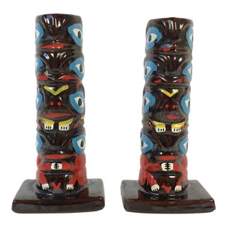 Mid-Century Totem Pole Pottery Candle Holders