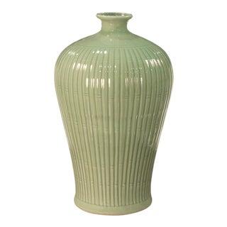Sarried Ltd Celadon Carved Bamboo Prunus Vase