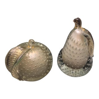 Vintage Murano Hand-Blown Art Glass Pear & Apple - A Pair