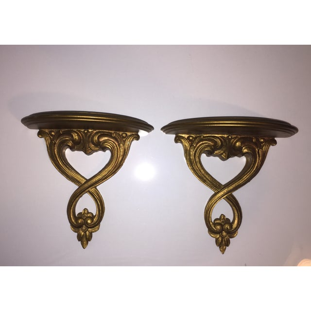 Italian Syroco Wood Gold Shelves - A Pair - Image 2 of 6