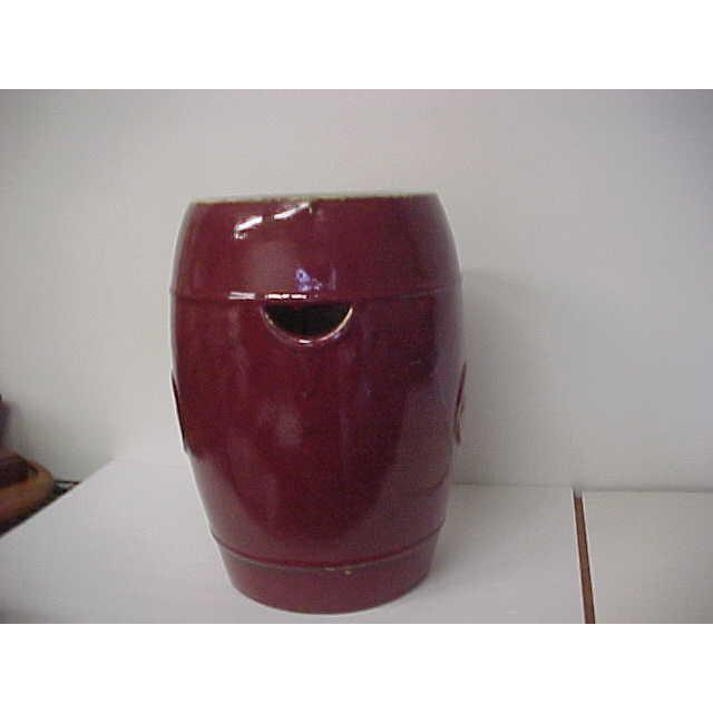 Oxblood Ceramic Garden Stool - Image 3 of 5