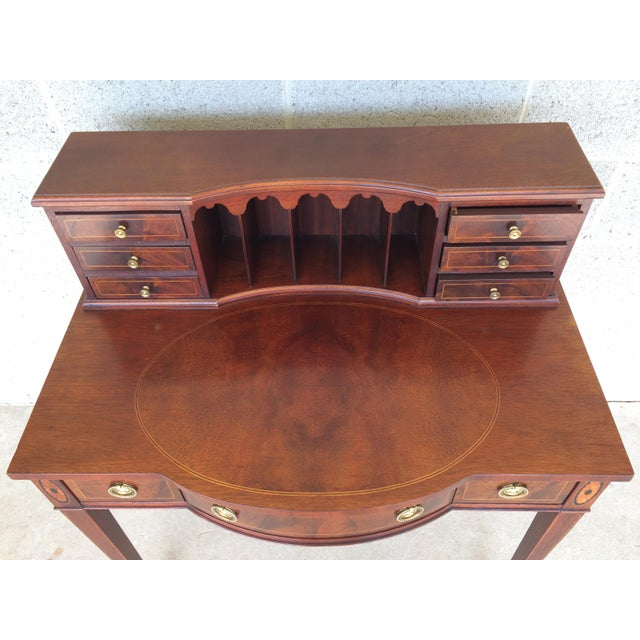 Baker Furniture Inlaid Mahogany 9 Drawer Writing Desk - Image 7 of 9