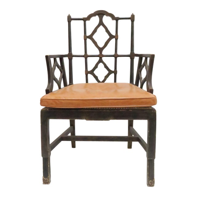 Vintage Chinoiserie Style Wooden Chair - Image 1 of 8