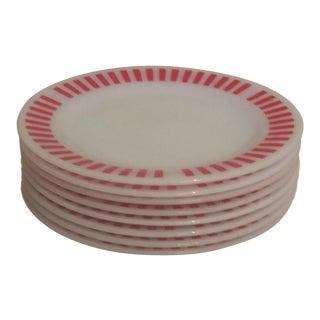 Hazel Atlas Red Candy Stripe Dinner Plates - Set of 8