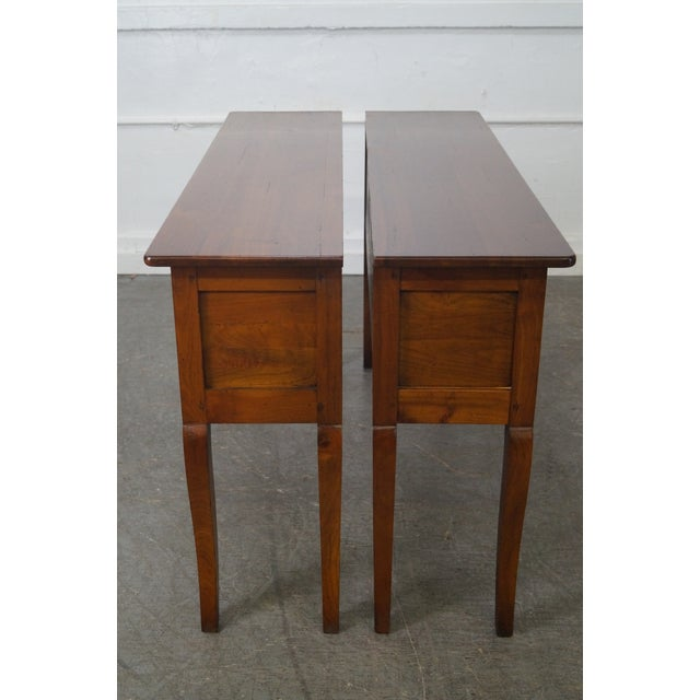 Custom French Country Cherry Wood Console Tables - A Pair - Image 3 of 10
