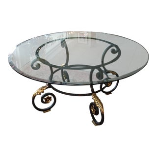 Gold & Iron Glass Top Table