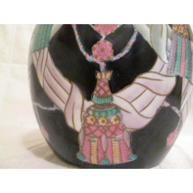 Image of Large Chinese Rope & Tassel Navy Ginger Jar