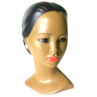 Vintage Polynesian Ceramic Painted Bust