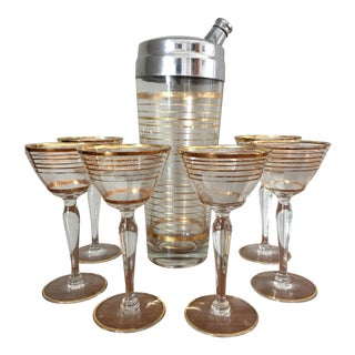 Mid-Century Gold Striped Cocktail Shaker Set - 7