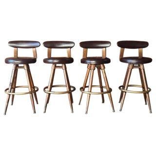 Mid-Century Brown Vinyl Bar Stools - Set of 4