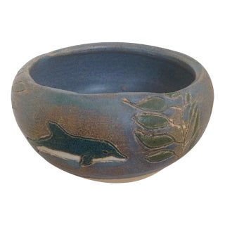 Blue Green Dolphin Sgraffito Pottery, Signed