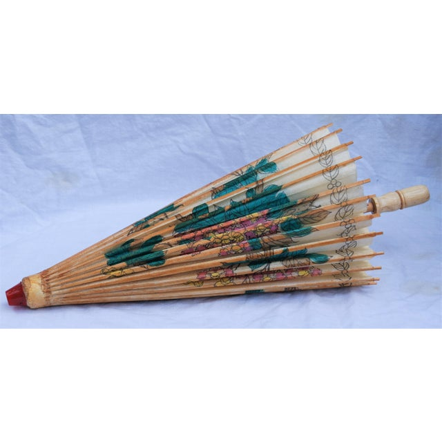 Vintage Asian Rice Paper Floral Umbrella - Image 2 of 10