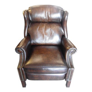 Wingback Leather Armchair Recliner W/ Nailheads