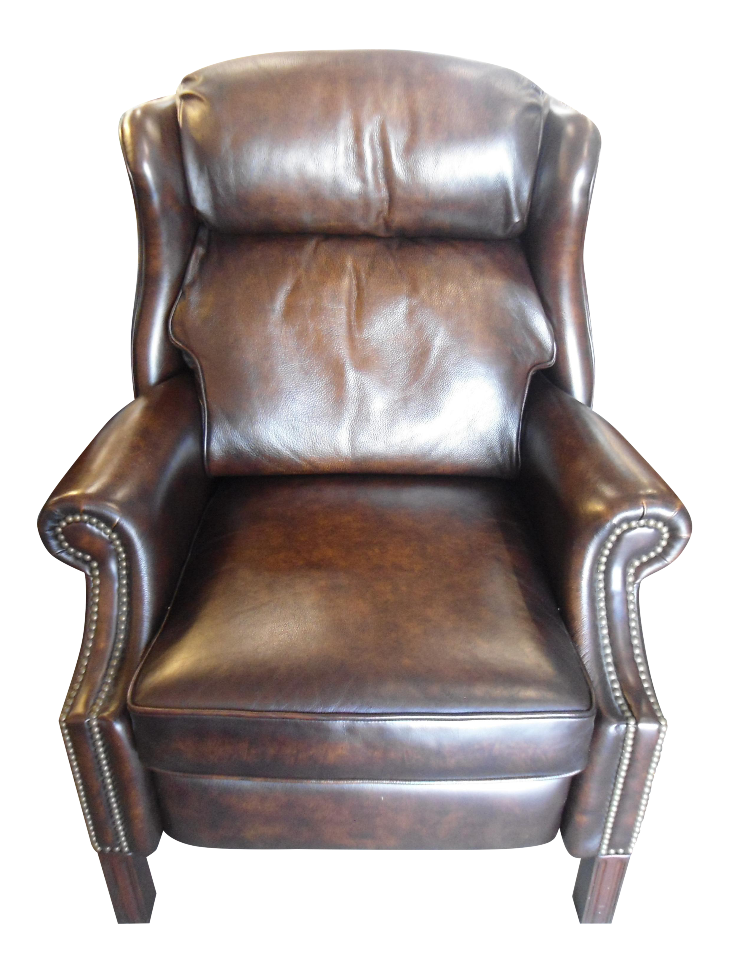 wingback leather armchair recliner w nailheads