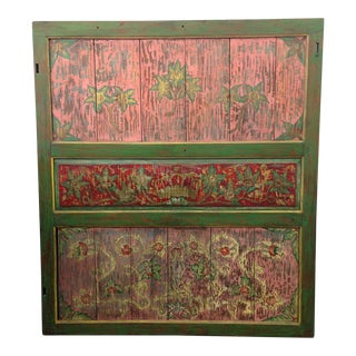 Hand-Painted Crown and Flowers Wood Panel