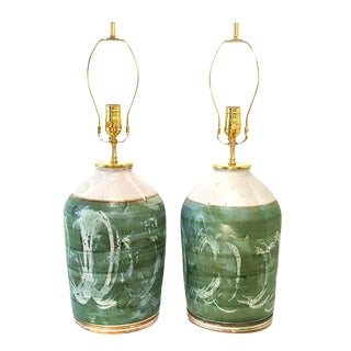 Vintage Green Studio Pottery Lamps - A Pair