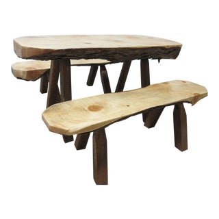Adirondack Cabin Free Form Slab Wood Live Edge Dining Set - Set of 3