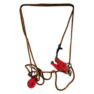 Vintage Red Pulley Nautical Barn Decor
