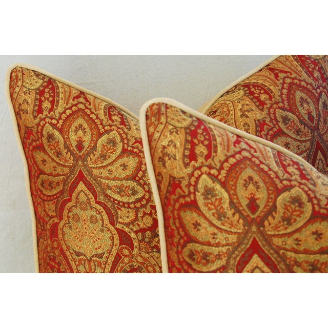 Custom French Jacquard & Velvet Pillows - A Pair - Image 5 of 10