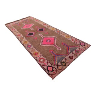 Vintage Hand Knotted Turkish Runner Rug - 4′3″ X 9′9″