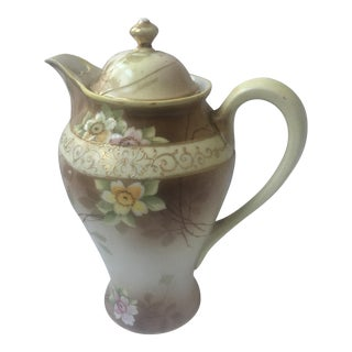 Old Hand Painted Nippon Porcelain Tall Teapot