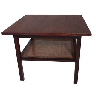 Mid-Century Rattan-Tiered Wooden Side Table