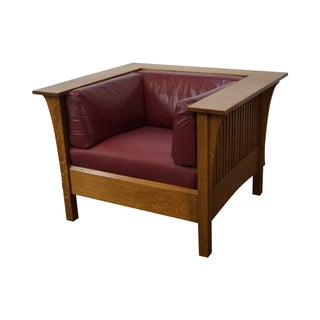 Stickley Mission Oak Spindle Side Even Arm Chair