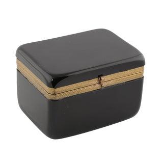FRENCH BLACK OPALINE GLASS DRESSER BOX WITH BRONZE ORNAMENTAL MOUNTS