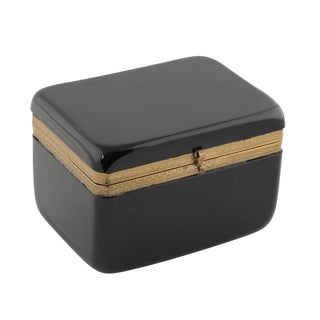 FRENCH BLACK OPALINE GLASS DRESSER BOX WITH BRONZE ORNAMENTAL MOUNTS