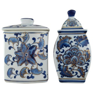 Chinoiserie Lidded Jars - Set of 2